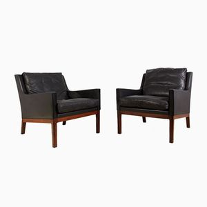 Mid-Century Rosewood and Black Leather Armchairs by Kai Lyngfeldt for Søren Wiladsen, 1960s