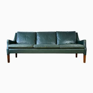 Vintage Danish Green Leather Sofa by Rud Thygesen for Vejen Polster, 1960s