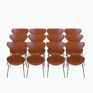 Series 7 Teak Dining Chairs by Arne Jacobsen for Fritz Hansen, 1973, Set of 8