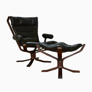 Danish Leather Easy Chair with Footstool