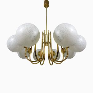 Mid-Century Brass Chandelier with Glass Shades, 1960s