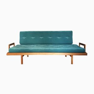 Mid-Century Sofa with Teal Velvet