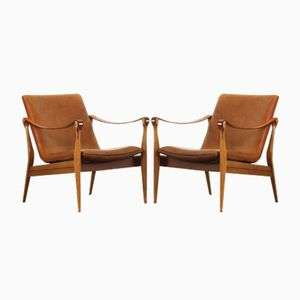 Mid-Century Modern Safari Lounge Chairs by Ebbe & Karen Clemmensen for Fritz Hansen