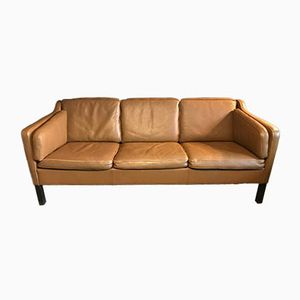 Vintage Danish Tan Leather Three Seater Sofa
