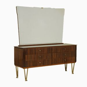 Vintage Italian Rosewood Dressing Table with Large Mirror from Palazzi dell'Arte, 1950s