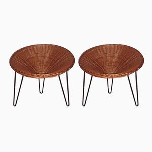 Rattan & Metal Armchairs, 1950s, Set of 2