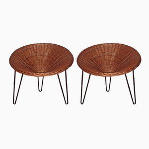 Rattan & Metall Armlehnstühle, 1950er, 2er Set