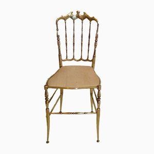 Brass & Leather Chiavari Chair, 1950s