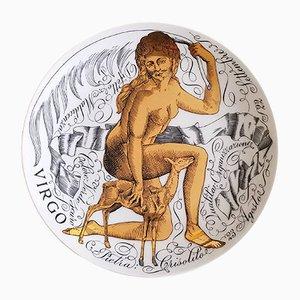 Virgo Zodiac Porcelain Plate by Piero Fornasetti for Corisia, 1969