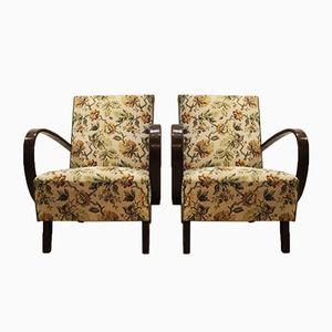 Geblümte Vintage Sessel von Jindrich Halabala für Thonet, 1930er