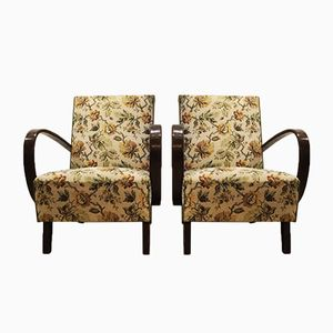 Vintage Floral Easy Chairs by Jindrich Halabala for Thonet, 1930s