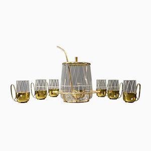Mid-Century Brass & Glass Punch Set