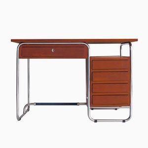 Modernistischer Schreibtisch aus Kirschholz mit Rohrrahmen und Blauer Laminatplatte