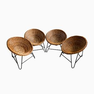 Vintage Rattan Easy Chairs, 1970s, Set of 4