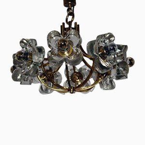 Chandelier with Floral Glass Elements from Simon und Schelle, 1960s