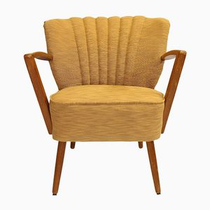 Vintage Cocktail Chair with Yellow Lelievre Upholstery, 1950s