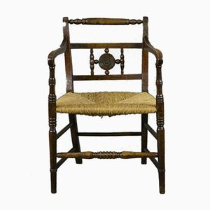 Elm and Rush Carver Chair, 19th Century