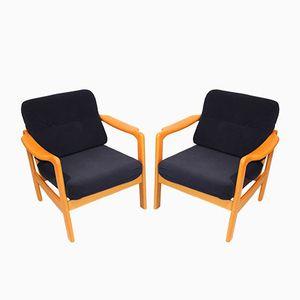 Scandinavian Velour Armchairs, Set of 2