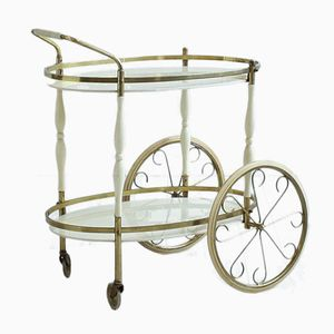 Vintage Brass and Cream Bar Trolley
