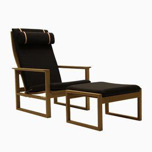 Vintage BM 2254 Armlehnstuhl & 2248 Hocker von Børge Mogensen für Fredericia Stolefabrik, 1950er