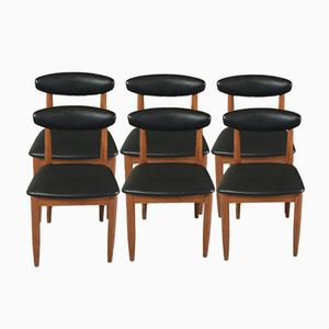 Black Vinyl Dining Chairs with Beech Frames, 1970s, Set of 6