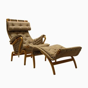 Swedish Pernilla Easy Chair & Ottoman by Bruno Mathsson for Dux, 1960s