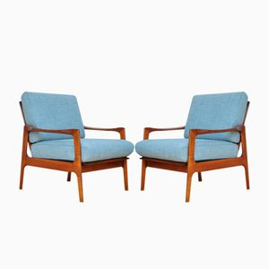 Blue Fabric Armchairs by Illum Wikkelso for Eilersen, 1960s, Set of 2