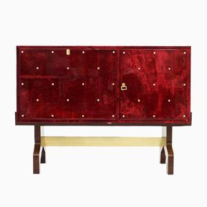 Italian Red Goatskin Sideboard by Aldo Tura, 1968