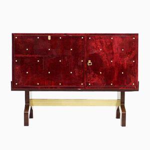 Italienisches Rotes Ziegenleder Sideboard von Aldo Tura, 1968