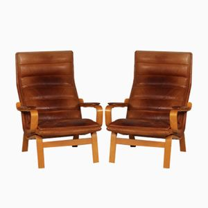 Scandinavian Cognac Leather Armchairs, 1970s, Set of 2
