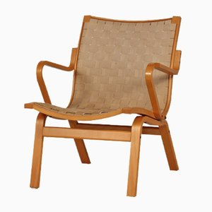 Scandinavian Easy Chair in Beech and Canvas by Burno Mathsson, 1970s
