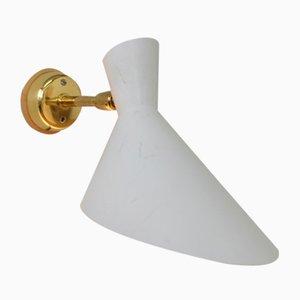 Mid-Century Swiss White Metal Wall Lamp