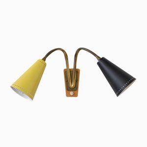 Mid-Century Yellow & Black Swiss Double Wall Lamp