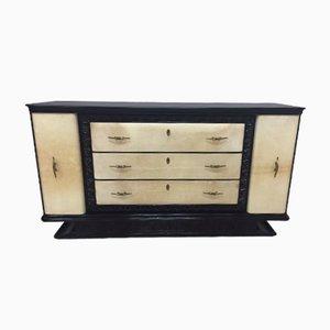 Black Lacquered Italian Art Deco Parchment Dresser, 1930s