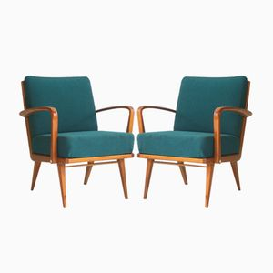 Cherry Armchairs with Emerald Upholstery, 1950s, Set of 2