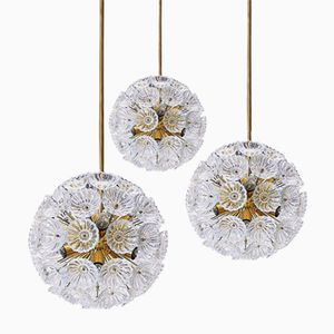 Starburst Dandelion Glass Sputnik Lamps, 1965, Set of 3