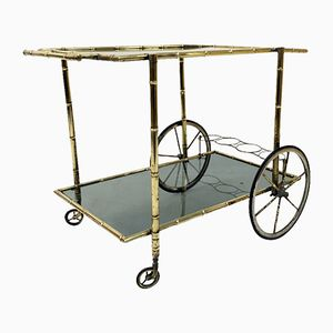 Chariot à Boissons Mid-Century en Laiton et Faux Bambou