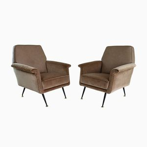 Mid-Century Italian Leather and Velvet Armchairs, Set of 2