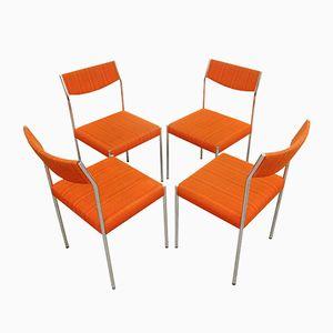 Vintage Chrom Esszimmerstühle mit Orangefarbenen Bezügen, 1970er, 4er Set