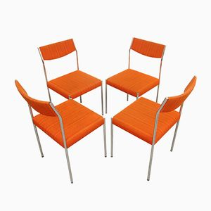 Vintage Chrome and Orange Fabric Dining Chairs, 1970s, Set of 4