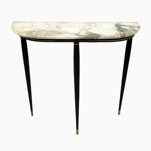 Mid-Century Italian Marble Metal and Brass Console Table