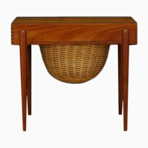 Danish Teak Side Table with Basket, 1970s