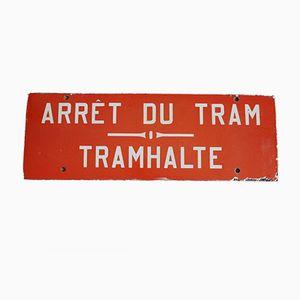 Vintage Belgian Red Enamel Tram Stop Sign, 1950s