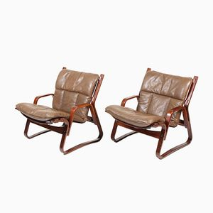 Mid-Century Bentwood and Leather Lounge Chairs, 1960s, Set of 2