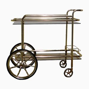 Vintage Belgian Glass and Gilded Metal Bar Trolley, 1980s