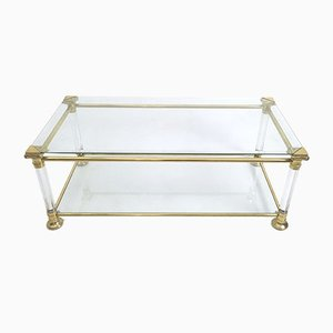 Vintage Italian Crystal Plexiglass and Brass Coffee Table, 1980s