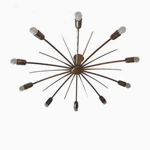 Mid-Century Brass Sputnik Sunburst Chandelier