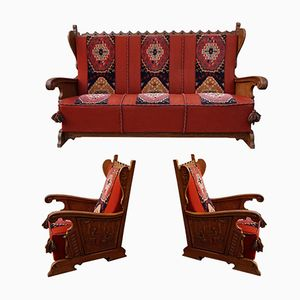 Vintage Rustic Bruegel Carved Sofa and 2 Armchairs, 1950s, Set of 3