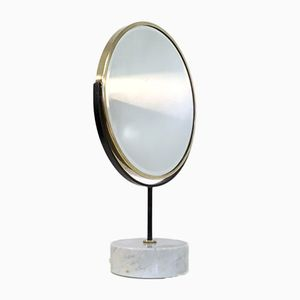 Miroir de Coiffeuse Vintage en Laiton et Marbre