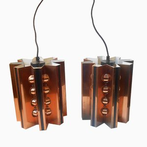 Mid-Century Swedish Star-Shaped Copper Pendant Lamps by Hans Agne-Jakobsson for Markaryd, 1960s, Set of 2